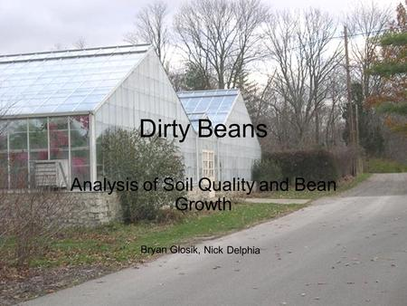 Dirty Beans Analysis of Soil Quality and Bean Growth Bryan Glosik, Nick Delphia.