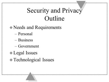 Security and Privacy Outline u Needs and Requirements –Personal –Business –Government u Legal Issues u Technological Issues.