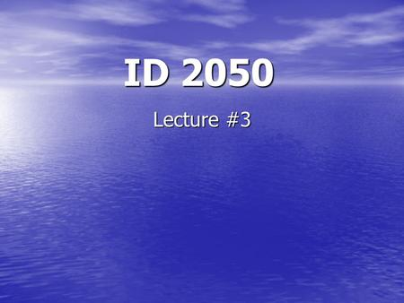 ID 2050 Lecture #3. The Project Proposal (this year) Introduction Introduces the Big Picture of your IQP, plus it also introduces (in move 5) the topics.