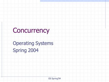 OS Spring'04 Concurrency Operating Systems Spring 2004.