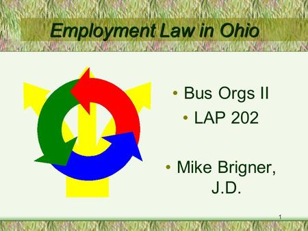 1 Employment Law in Ohio Bus Orgs II LAP 202 Mike Brigner, J.D.