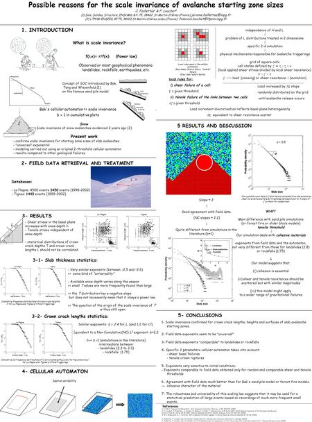 Independence of H and L  problem of L distributions treated in 2 dimensions  specific 2-d simulation  physical mechanisms responsible for avalanche.