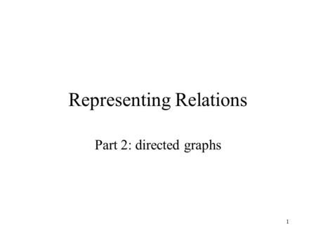 1 Representing Relations Part 2: directed graphs.
