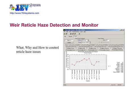 Weir Reticle Haze Detection and Monitor What, Why and How to control reticle haze issues.