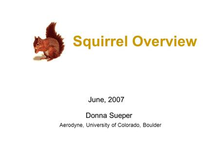 Squirrel Overview Donna Sueper June, 2007 Aerodyne, University of Colorado, Boulder.
