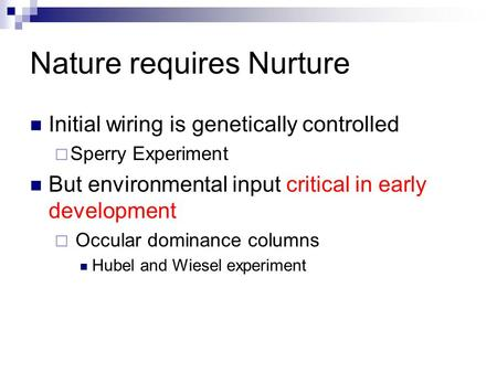 Nature requires Nurture Initial wiring is genetically controlled  Sperry Experiment But environmental input critical in early development  Occular dominance.