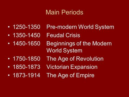 Main Periods 1250-1350Pre-modern World System 1350-1450Feudal Crisis 1450-1650Beginnings of the Modern World System 1750-1850The Age of Revolution 1850-1873Victorian.