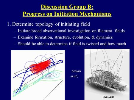 Discussion Group B: Progress on Initiation Mechanisms 1. Determine topology of initiating field –Initiate broad observational investigation on filament.