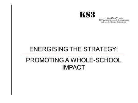 KS3 IMPACT! ENERGISING THE STRATEGY : PROMOTING A WHOLE-SCHOOL IMPACT.