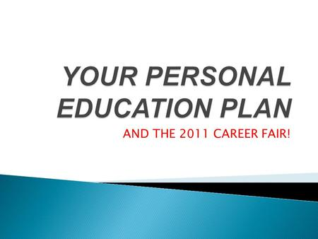 AND THE 2011 CAREER FAIR!. The Personal Education Plan is a process that students participate in, which results in an actual plan for your future. Process: