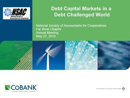 Debt Capital Markets in a Debt Challenged World National Society of Accountants for Cooperatives Far West Chapter Annual Meeting May 27, 2010.