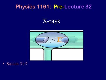 X-rays Section 31-7 Physics 1161: Pre-Lecture 32.