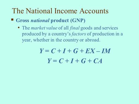 The National Income <strong>Accounts</strong>
