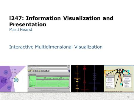 1 i247: Information Visualization and Presentation Marti Hearst Interactive Multidimensional Visualization.