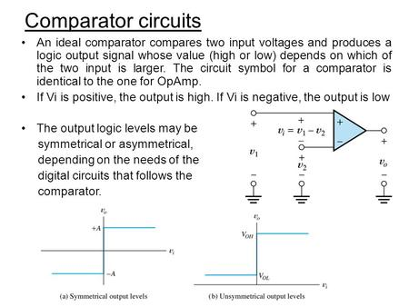 Comparator circuits An ideal comparator compares two input voltages and produces a logic output signal whose value (high or low) depends on which of the.