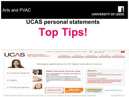 Arts and PVAC UCAS personal statements Top Tips!.