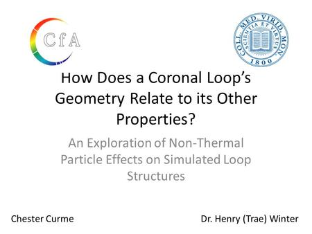 How Does a Coronal Loop's Geometry Relate to its Other Properties? An Exploration of Non-Thermal Particle Effects on Simulated Loop Structures Chester.