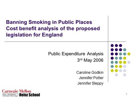 1 Banning Smoking in Public Places Cost benefit analysis of the proposed legislation for England Public Expenditure Analysis 3 rd May 2006 Caroline Godkin.