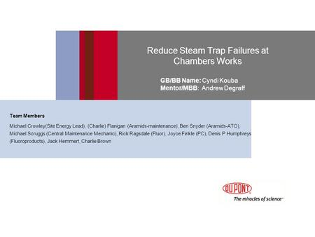 Reduce Steam Trap Failures at Chambers Works GB/BB Name: Cyndi Kouba Mentor/MBB: Andrew Degraff Team Members Michael Crowley(Site Energy Lead), (Charlie)