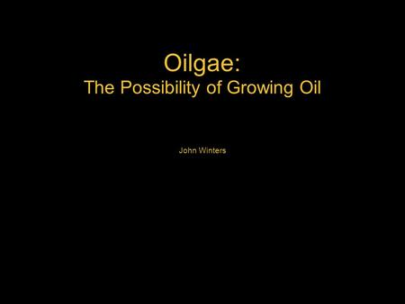 Oilgae: The Possibility of Growing Oil John Winters.
