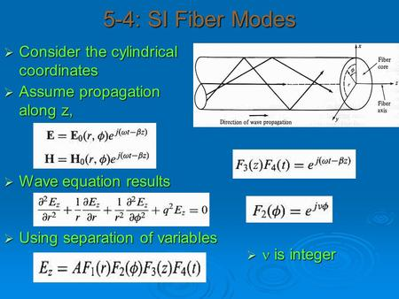 5-4: SI Fiber Modes  Consider the cylindrical coordinates  Assume propagation along z,  Wave equation results  Using separation of variables  is integer.