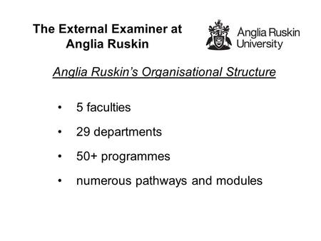 The External Examiner at Anglia Ruskin Anglia Ruskin's Organisational Structure 5 faculties 29 departments 50+ programmes numerous pathways and modules.