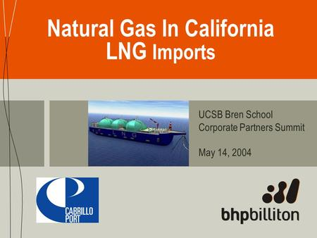 Natural Gas In California LNG Imports UCSB Bren School Corporate Partners Summit May 14, 2004.