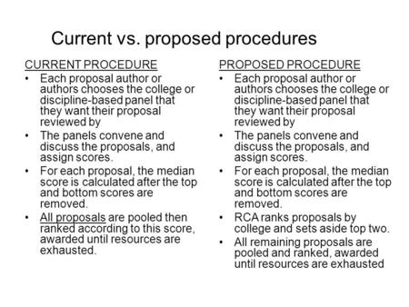 Current vs. proposed procedures CURRENT PROCEDURE Each proposal author or authors chooses the college or discipline-based panel that they want their proposal.