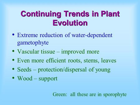 Continuing Trends in Plant Evolution Extreme reduction of water-dependent gametophyte Vascular tissue – improved more Even more efficient roots, stems,
