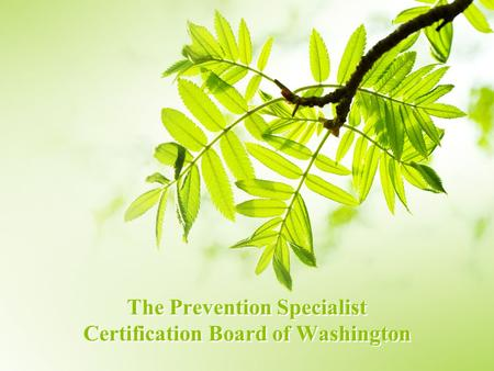 The Prevention Specialist Certification Board of Washington.