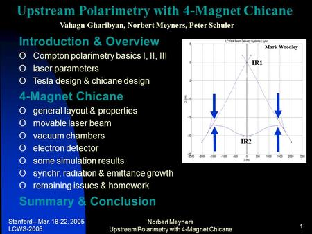 Stanford – Mar. 18-22, 2005 LCWS-2005 Norbert Meyners Upstream Polarimetry with 4-Magnet Chicane 1 Introduction & Overview O Compton polarimetry basics.