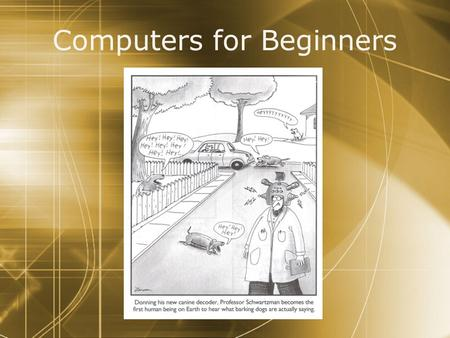 Computers for Beginners. Agenda  Environment  Windows (Vista)  <strong>Mac</strong> (OS X)  Personalization  User Accounts - Passwords  Selective Startup (Windows)