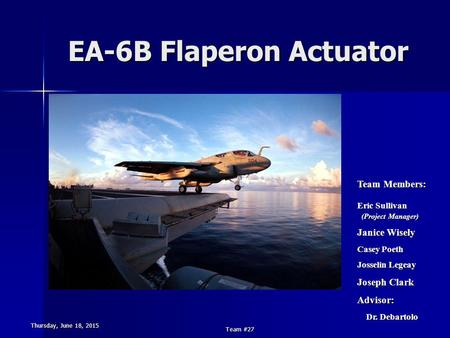 Thursday, June 18, 2015Thursday, June 18, 2015Thursday, June 18, 2015Thursday, June 18, 2015 Team #27 EA-6B Flaperon Actuator Team Members: Eric Sullivan.
