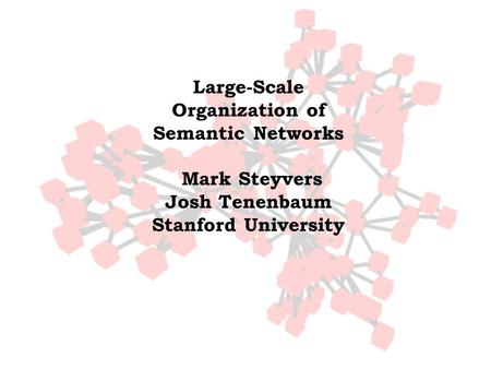 Large-Scale Organization of Semantic Networks Mark Steyvers Josh Tenenbaum Stanford University.