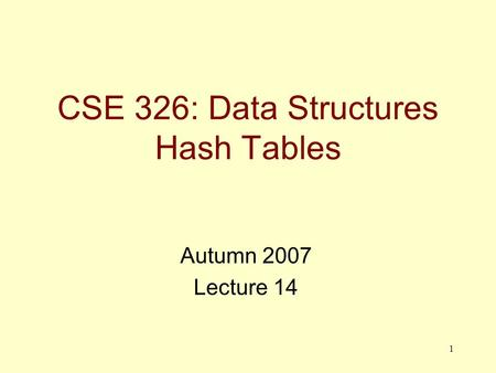1 CSE 326: Data Structures Hash Tables Autumn 2007 Lecture 14.