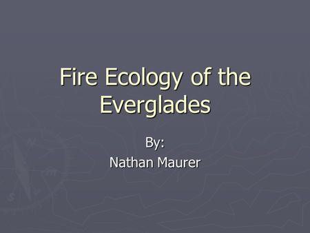 Fire Ecology of the Everglades By: Nathan Maurer.