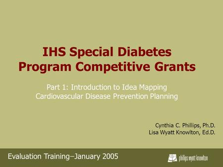 IHS Special Diabetes Program Competitive Grants Part 1: Introduction to Idea Mapping Cardiovascular Disease Prevention Planning Cynthia C. Phillips, Ph.D.