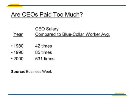 Are CEOs Paid Too Much? CEO Salary Year Compared to Blue-Collar Worker Avg. 198042 times 199085 times 2000531 times Source: Business Week.