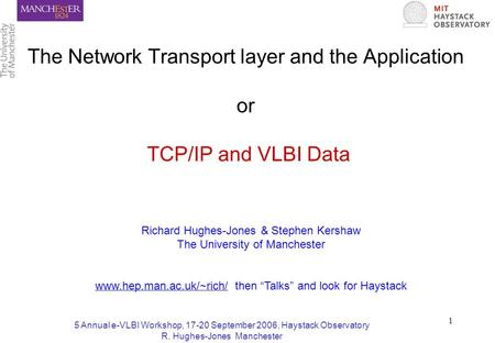 5 Annual e-VLBI Workshop, 17-20 September 2006, Haystack Observatory R. Hughes-Jones Manchester 1 The Network Transport layer and the Application or TCP/IP.