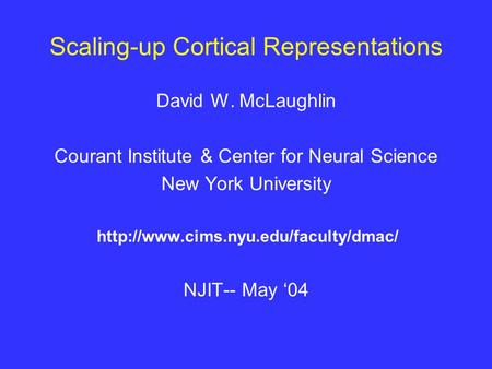 Scaling-up Cortical Representations David W. McLaughlin Courant Institute & Center for Neural Science New York University