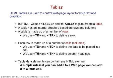 56 © 1998,1999, 2000 David T. Gray, Howard Duncan, Jane Kernan Tables HTML Tables are used to control Web page layout for both text and graphics +In HTML,