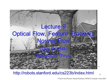 Lecture 9 Optical Flow, Feature Tracking, Normal Flow