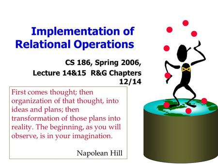 Implementation of Relational Operations CS 186, Spring 2006, Lecture 14&15 R&G Chapters 12/14 First comes thought; then organization of that thought, into.