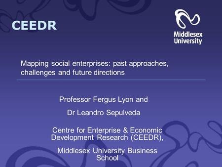 CEEDR Centre for Enterprise & Economic Development Research (CEEDR), Middlesex University Business School Professor Fergus Lyon and Dr Leandro Sepulveda.