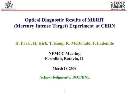 1 Optical Diagnostic Results of MERIT (Mercury Intense Target) Experiment at CERN H. Park, H. Kirk, T.Tsang, K. McDonald, F. Ladeinde NFMCC Meeting Fermilab,