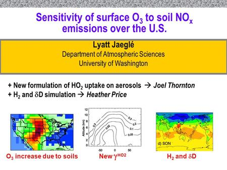 U N I V E R S I T Y O F W A S H I N G T O N S C H O O L O F N U R S I N G Sensitivity of surface O 3 to soil NO x emissions over the U.S. Lyatt Jaeglé.