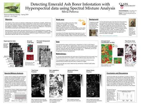 Detecting Emerald Ash Borer Infestation with Hyperspectral data using Spectral Mixture Analysis Silvia Petrova Objective The objective of this project.
