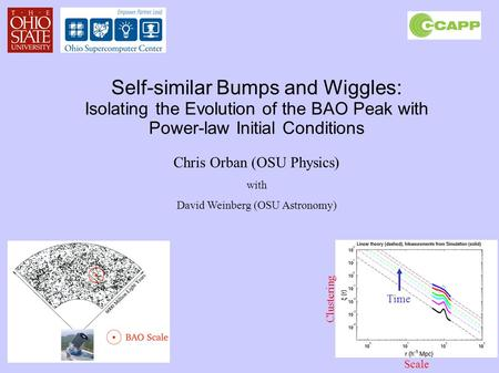 Self-similar Bumps and Wiggles: Isolating the Evolution of the BAO Peak with Power-law Initial Conditions Chris Orban (OSU Physics) with David Weinberg.