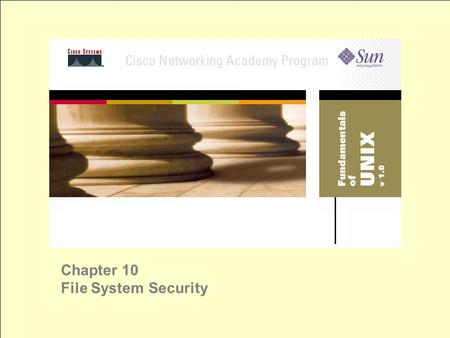 Chapter 10 File System Security. Security Policies security policies are doors maintain a balance between total access and total security UNIX has two.