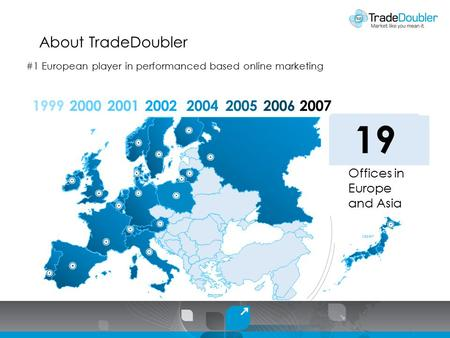 About TradeDoubler 19992000 01 Offices in Europe and Asia 200120022004200520062007 030711131416 19 1 Japan #1 European player in performanced based online.